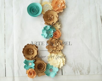 Lined letters of paper flowers.  All the letters available