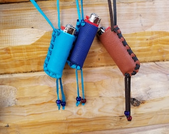 Lighter Holder Handmade Deerskin with Glass Pony Beads -ONE: We Choose For You- Colors Vary