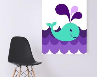 DIGITAL WALL ART- Nautical Creatures- Turquoise Whale On Purple Waves