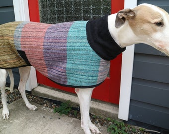 colour block...winter coat for a greyhound in vintage wool blanket and polar fleece