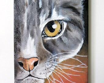 Grey Tabby, Original Oil Painting, Small Painting, Cat, Animal Painting, Original Art