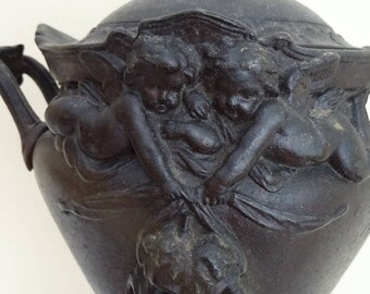 RARE Victorian Metal Urn - Ornate Scrolls with Cherubs Holding the Masks of Comedy and Tragedy
