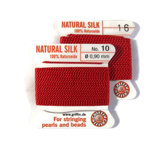 Size 10 or 16 : Primary Red Cord, 100% Silk Cord with Built-In Stainless Steel Needle for Jewelry & Hand Knotting, 2 Yard Spool