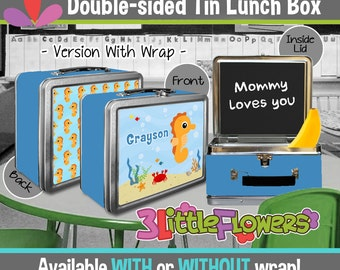 Personalized Sea Horse Lunchbox - Personalized Metal Lunch Box Chalkboard inside - Double-sided Tin Lunch Box - Under the Sea Lunch Box