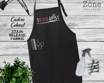 THAIRAPIST Hair Stylist Apron, Customize Colors, Hair Apron, Stylist Gift, Hairdresser Apron, Cosmetology Apron, Funny Aprons, Cosmetologist