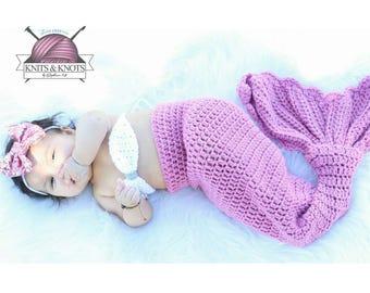 Baby mermaid outfit, crochet, mermaid tail, mermaid, baby prop, newborn mermaid