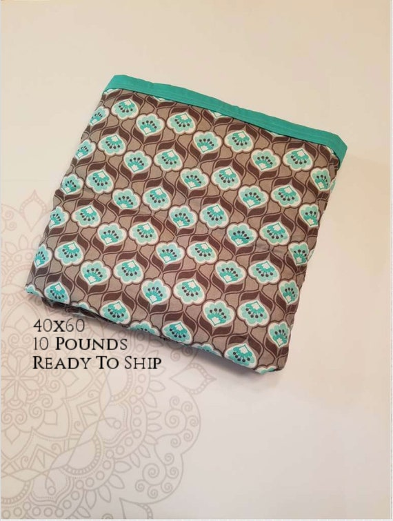 READY to SHIP, Weighted Blanket, 40x60-10 Pounds, Gray Mint Flowers Cotton Front, Teal Woven Cotton Back, Sensory Blanket, Calming Blanket,