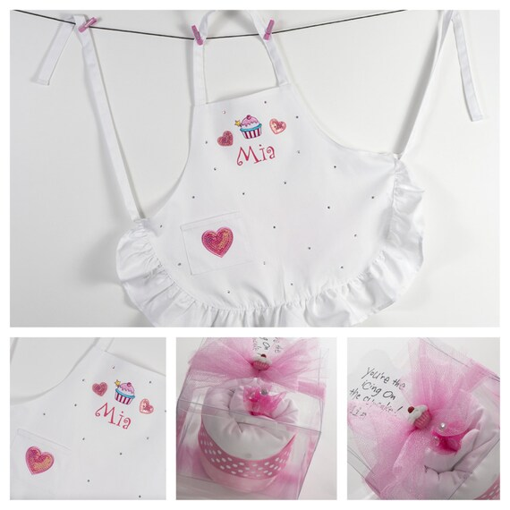 "The ""Sassy & Sweet Lil' Baker"" Personalized Kids Apron in a Cupcake."