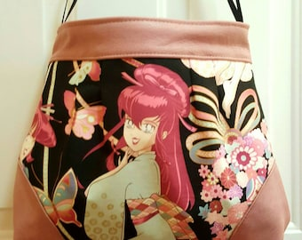 Japanese Anime Geisha Alexander Henry Miss Butterfly Lily Pleated Bag