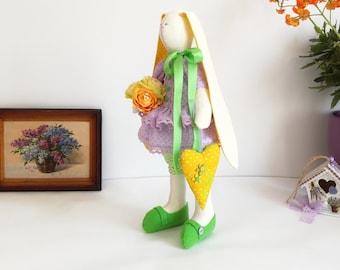 Stuffed Tilda style/ Bunny rabbit hare/ Interior toy lilac plush rabbit bunny doll/ Handmade tilda bunny/ Textile rabbit in lilac dress