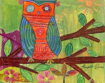 Whimsical Owl Art 5X5 Blank Greeting Card by Elizabeth Claire