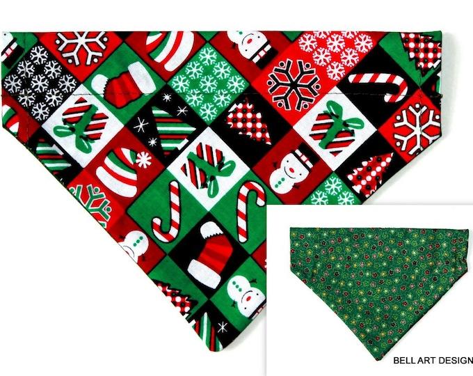 DOG BANDANA ~ Over the Collar ~ Reversible ~ Christmas ~ Bell Art Designs ~ Small DCS483