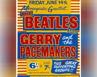 The Beatles & Gerry and the Pacemakers Concert Poster A4 Print Vintage Gift
