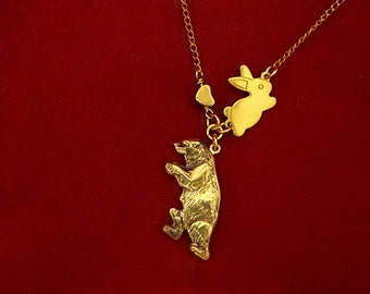Bunny Loves Bear Necklace