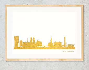 "Unique ZURICH""Love Forever"" Honeymoon Poster, gold foil Zurich skyline, custom hygge artwork, golden ZURICH print, wedding card, engagement"