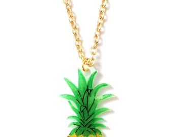 Pineapple Fruit Necklace - Pendant, Juicy, Tropical, Yellow, Green