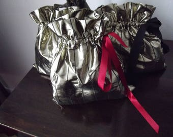 set of 3 Gold lame fabric bag