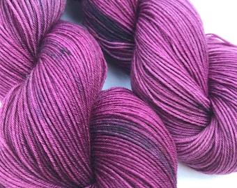 Plum Dandy- Hand dyed yarn, sock weight, Superwash Merino, 463 yards