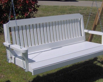 Brand New 5 Foot Painted Traditional Style White Porch Swing - with Hanging Chain or Rope - Free Shipping