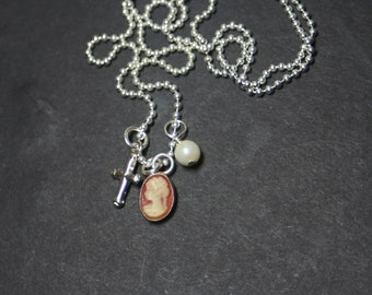 Mini Vintage Resin Cameo Charm Mini Gothic Cross Freshwater Pearl Sterling Silver Necklace