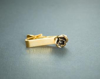 Rose Tie Clip Set Gothic Victorian Steampunk Jewelry Antique Brass Mens Cuff Link Accessories
