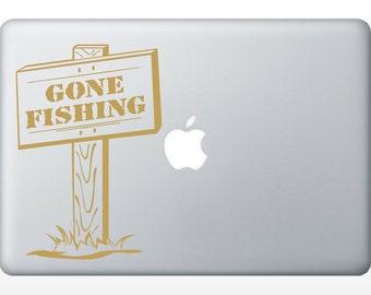Gone Fishing laptop DECAL- macbook iPad computer- vinyl sticker
