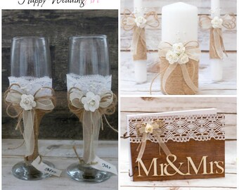 Rustic Wedding Set Champagne Glasses Guest Book Unity Candle Set Burlap Country Wedding  Toasting Flutes Wedding Candles