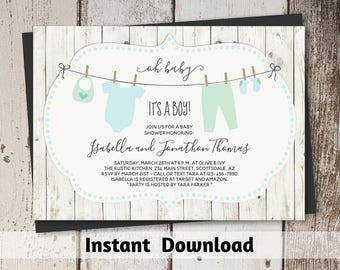 Rustic Baby Shower Invitation for Boy - Printable Template - Instant Download Digital File 5x7 PDF - Green & Blue Onesies on Clothesline