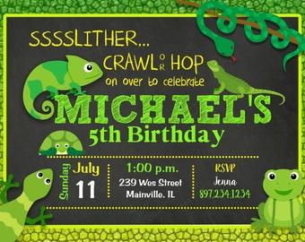Reptile, Snake, Lizard, Turtle, Frog, Birthday Party Invitation -  Printable, Digital or Printed