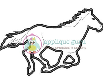 Mustang Applique Machine Embroidery Design 5x7 and 6x10