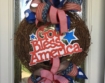 4th of July wreath, patriotic wreath, God Bless America wreath, Memorial Day wreath, Labor Day wreath