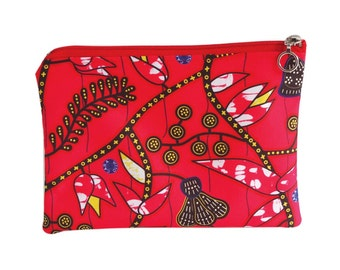 Pocket pouch canvas water-repellent red patterns wax satin lining