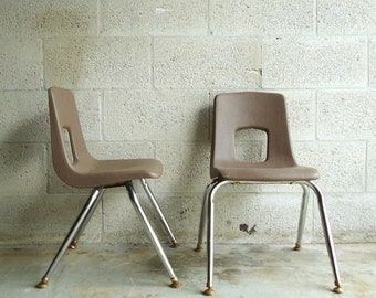 Vintage PAIR of Industrial School Chair Kids Childrens Brown Plastic Chrome