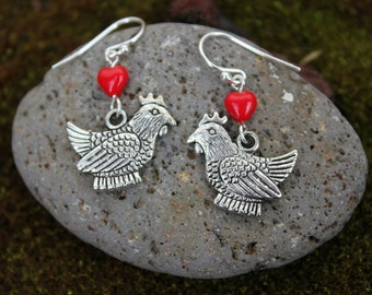 I Love Chickens earrings - fat silver hen under red glass heart, sterling silver earring hooks -Free Shipping USA