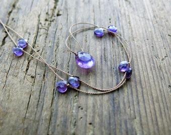 Amethyst necklace. Amethyst briolette necklace. Minimalist amethyst necklace. February birthstone.