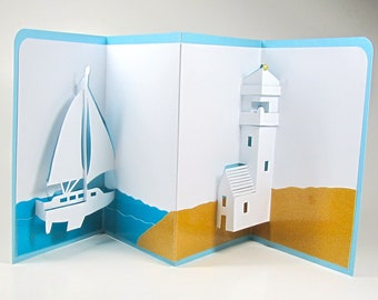 SAILBOAT and LIGHTHOUSE Nautical Pop-Up 3D Card Home Décor Origamic Architecture Handmade in White Blue and Gold OOAK
