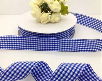"""1"""" Navy and White Checked Ribbon by the Yard   R10"""