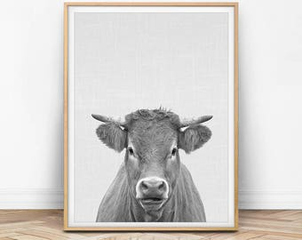 Cow Print, Cow Wall Art, Cow Printable, Cow Photography, Cow Wall Printable, Black and White Cow, Cow Print Art, Cow Printable Art