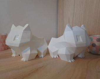 Flower planter - matte finish - look Pokemon Bulbasaur origami (low poly)