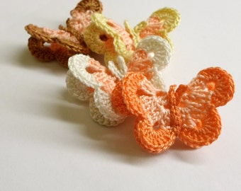 Crocheted Butterfly Appliques, 4pc., 2 inches, handmade, pastel mix.