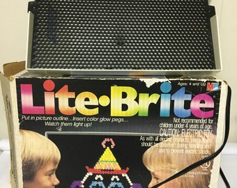 Vintage 1960's Original Lite Brite With Box Paperwork