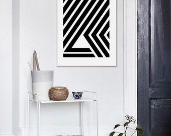 Scandinavian Print, Scandinavian Style, Geometric Print, Black and White, Modern Wall Art, Large Wall Print, Scandinavian Poster