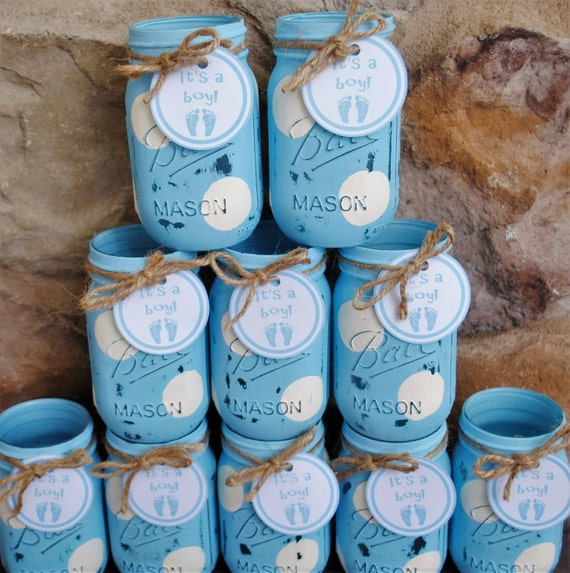 Charming Mason Jar Centerpieces Baby Shower Centerpieces Blue And
