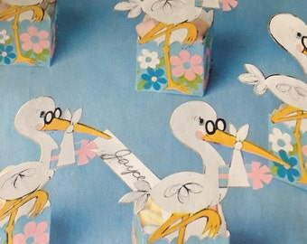 1960's Hallmark Party Nut Cup Storks  For Baby Shower
