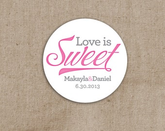 Love is Sweet Wedding Stickers - Envelope Seals - Candy Favor Labels - Goody Bag Labels - Set of 50