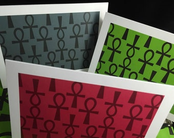 Red Black and Green Assorted Greeting Cards-Ankh Design (set of 6)