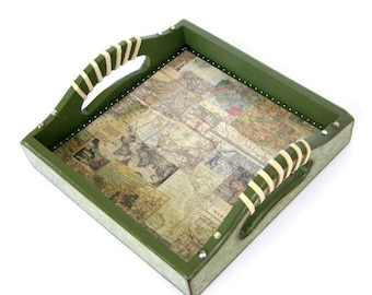 Small Valet Tray Decoupaged Wood Dresser Tray Bedroom Nightstand Jewelry Storage Coin and Key Holder Fathers Day Gift for Dad Gift for Him