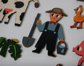 """Wooden toy set """"Farmer and his household"""""""