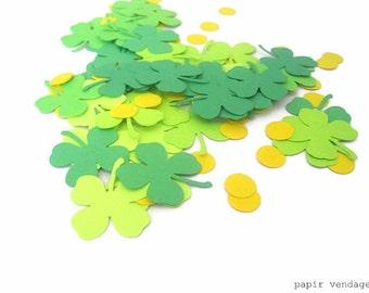 Four-Leaf Clover & Gold Coins Confetti, Shamrocks,  St. Patrick's Day Confetti, Shamrock Confetti, St. Patrick's Decor, Clover Punches
