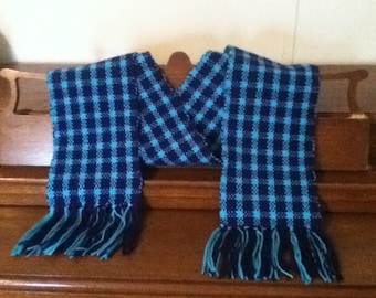 Blue Plaid Handwoven Scarf
